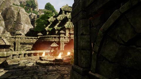 4K Ancient Mysterious Fantasy Town Sacred Shrine Animation
