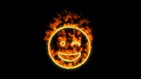 grin wink symbol inflames. Then disappears. In - Out loop. Alpha channel Premultiplied - Matted with Animation