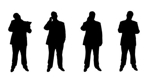 4K 4 Businessman Silhouettes Animation