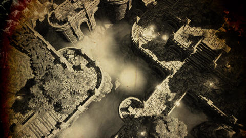 4K Ancient Mysterious Fantasy Town Vintage Aerial 3D Animation Animation