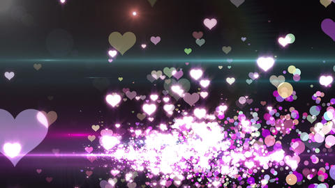 Lens Flares and Particles 16 heart Q2f 4k Animation