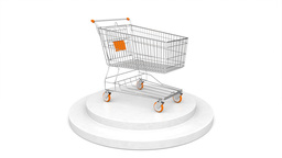 Turning Shopping Cart On Podium Seamless Loop Animation