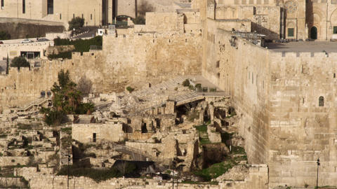 Royalty Free Stock Video Footage of south steps at Jerusalem walls filmed in Isr Footage