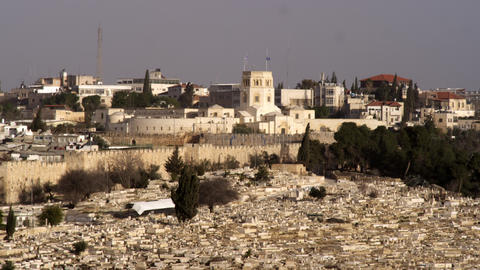 Stock Video Footage of a cemetery and the Rockefeller Museum filmed in Israel at Footage