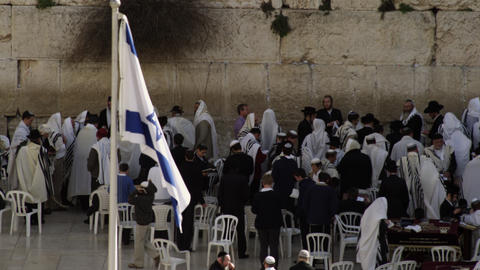 Royalty Free Stock Video Footage of male Jews at the Western Wall filmed in Isra Footage
