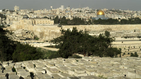Stock Video Footage of Jewish Cemetery and Old Jerusalem filmed in Israel at 4k  Footage