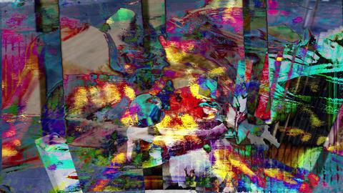 Colorful visualization of transparent skulls on fence background Animation