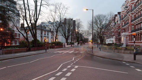 Time-lapse of traffic at Abbey Road in London Footage