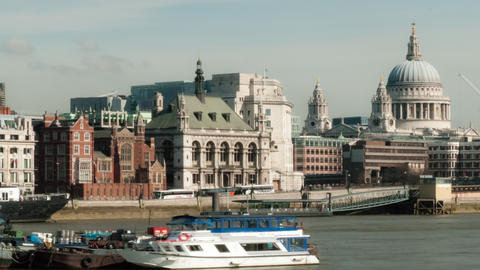 Time-lapse of the Victoria Embankment and St. Paul's Cathedral in London Footage