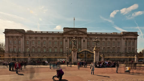 Time-lapse of Buckingham Palace with tourists in front Footage