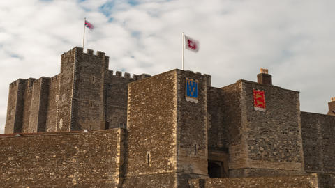 Time-lapse of flags blowing over Dover Castle Footage
