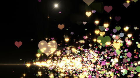 Lens Flares and Particles 16 heart V2f 4k Animation
