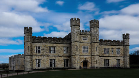 Time-lapse of the entrance of Leeds Castle in England Footage
