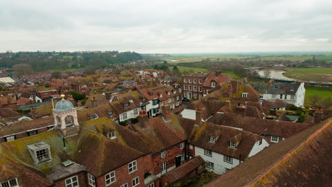 Time-lapse of the rooftops of Rye, East Sussex, England Footage