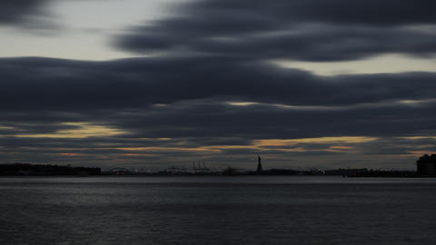Statue Of Liberty seen from across the bay Footage