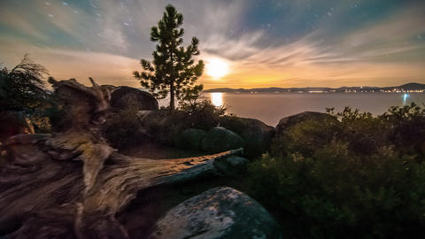 Time-lapse dolly shot of Lake Tahoe from Sand Harbor, Nevada. Desert sunset with Footage