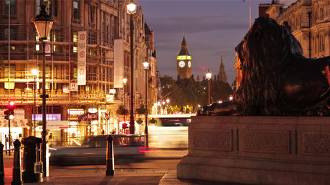 Time-lapse at Trafalgar Square featuring Big Ben in London Footage