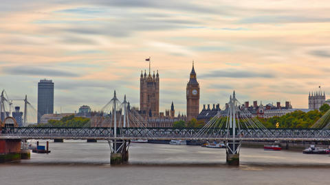Time-lapse of Big Ben and the Hungerford bridge in London Footage