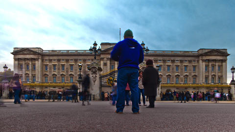 Tracking time-lapse of tourists at Buckingham Palace in London Footage