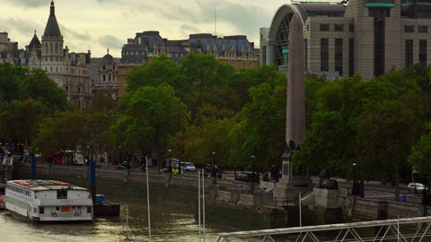 Time-lapse of Cleopatra's Needle obelisk on the Victoria Embankment Footage