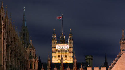 Time-lapse of the Victoria Tower at Westminster Palace in London Footage