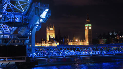 Time-lapse of Big Ben and the London Eye at night Footage