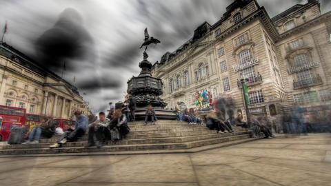 Tone mapped HDR time-lapse of the Shaftesbury Memorial at Piccadilly Circus in L Footage