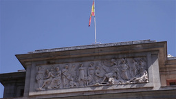 Spanish flag waving by the wind Footage