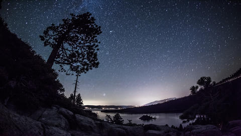 Timelapse shot of the night sky over Emerald Bay, Nevada Footage