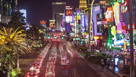 Timelapse shot of a busy Las Vegas street at night Footage