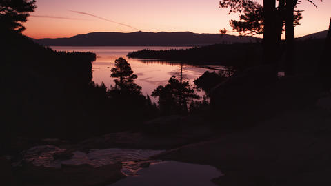 Static silouhette shot of dusk above Emerald Bay, Lake Tahoe, California Footage