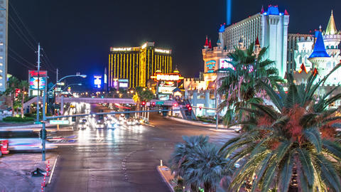 Timelapse shot of Night life at Las Vegas Footage