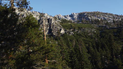 Still shot of mountain cliffs above Emerald Bay, Lake Tahoe, California Footage