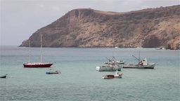 Boats near beach in Cape Verde Africa Footage