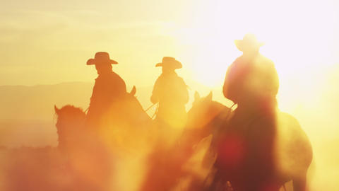 Slow motion shot of cowboys with lens flare Footage