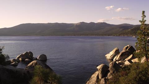 Wide static shot of Emerald Bay at Lake Tahoe, California Footage