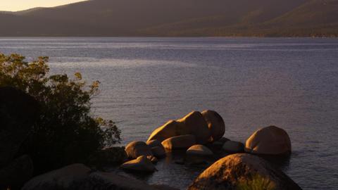 Static shot overlooking Emerald Bay at Lake Tahoe, California Footage