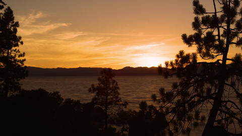 Timelapse shot of Emerald Bay at Lake Tahoe, California, during sunset Footage