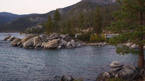 Shot of the rocky outcropping at Sand Harbor State Park of Lake Tahoe Footage