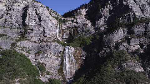 Shot of waterfall at Zion National Park Footage