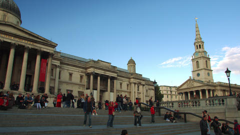 LONDON - OCTOBER 7: People on the steps of the National Gallery on October 7, 20 Footage