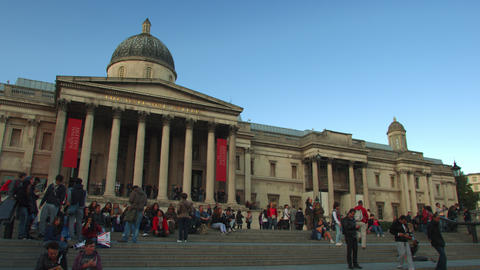 LONDON - OCTOBER 7: National Gallery with people on the steps on October 7, 2011 Footage
