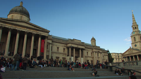LONDON - OCTOBER 7: Shot pans the National Gallery and St. Martin-in-the-Fields  Footage