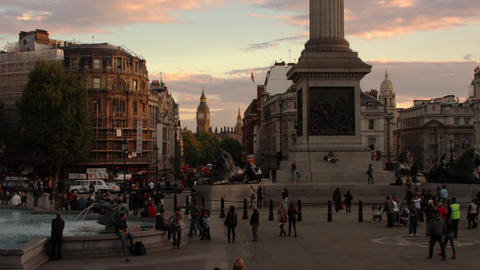 Base of Nelson's Column with Big Ben in the distance in London Footage