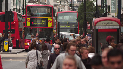LONDON - OCTOBER 8: Oxford Street and red double-decker buses on October 8, 2011 Footage