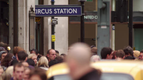 LONDON - OCTOBER 8: Buses, cars and people close to Circus Station on October 8, Footage
