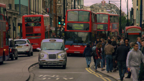 LONDON - OCTOBER 8: Cars, people and double-deckers in slow motion on October 8, Footage