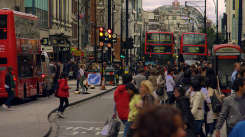 LONDON - OCTOBER 8: Oxford Street slow motion on October 8, 2011 in London Footage