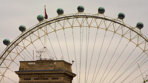 British flag waving nearby London Eye Footage