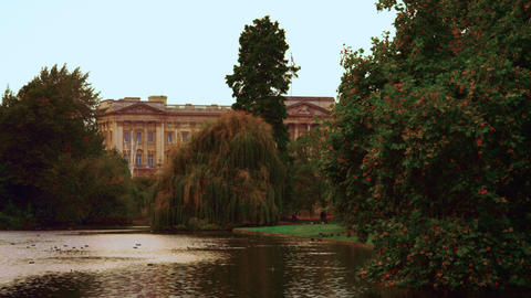 Saint James waterway with Buckingham Palace in the background Footage